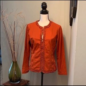 Chico's zip up jacket with ruffle detail